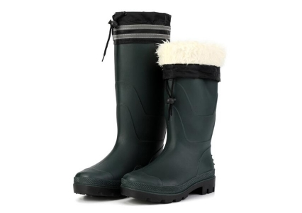 SQ-1618 Green non safety water proof winter pvc rain boots with fur lining