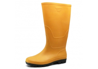 China 102-4 Yellow water proof anti slip non safety PVC wellington rain gum boots for work factory