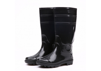 China 103 Black waterproof glitter pvc rain boots factory