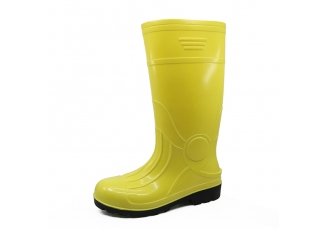 China 107-1 yellow oil acid resistant glitter pvc safety rain boots factory
