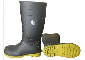 China 108-10 CE approved black water proof steel toe puncture proof pvc safety rain boots factory