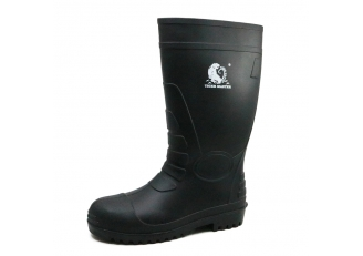 China 108-3L Black chemical resistant steel toe PVC safety rain boots factory