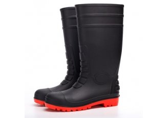 108-9 black oil resistant steel toe safety rain boots pvc