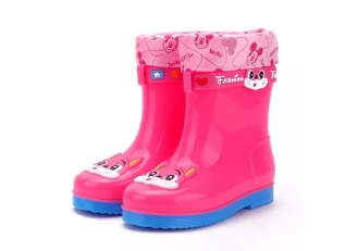 585-P pink winter girls rain boots with fur lining