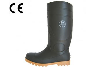 China BNS black steel toe rain boots for workers factory