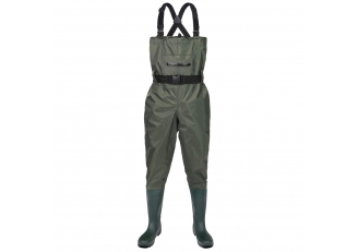 CW002 Front zipper pocket men nylon PVC water proof fishing wader chest wader with pvc boots