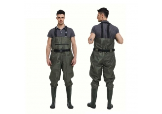 China CW005 good quality nylon PVC men fishing wader water proof chest wader with pvc boots factory