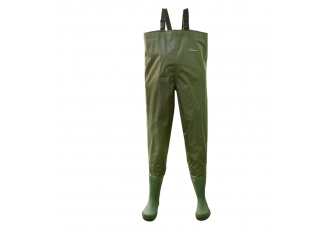 China CW007 Green water proof slip resistant nylon PVC coating men fishing waders with pvc boots factory