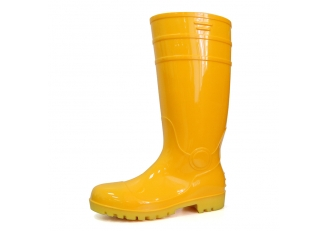 China F30YY waterproof steel toe cap oil resistant glitter pvc yellow wellington boots factory