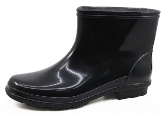 China JW-015 anti slip non safety ankle pvc glitter rain boots men factory