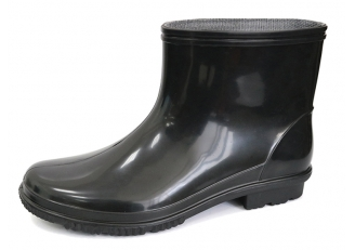 China JW105 Slip resistant black non safety pvc work rain boot factory