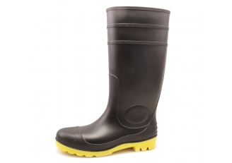 China QH-002 black waterproof oil resistant pvc safety rain gumboots factory