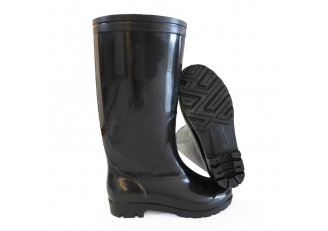 China SQ-02 Non safety cheap black shiny pvc work rain boot factory