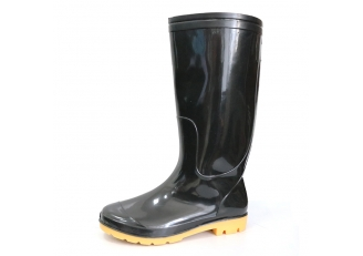 China SQ-BY 2 dollar anti slip non safety cheap black pvc glitter rain boot factory